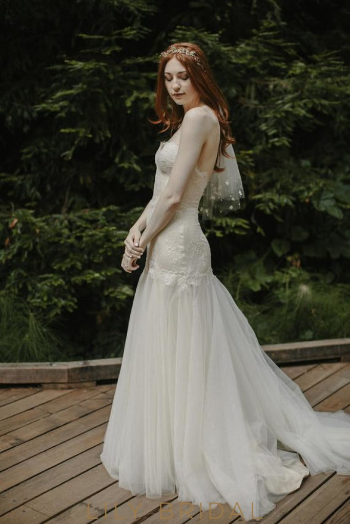 Drop Waist Wedding Dress.Tulle Lace Mermaid Silhouette Strapless Dropped Waist Wedding Dress