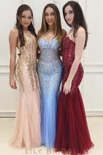 Tulle Mermaid Sweetheart Neckline Strapless Appliqued Prom Dresses