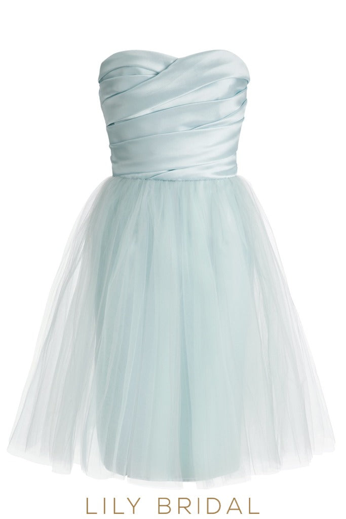 Tulle Sky Blue Sweetheart Strapless Ruched A-Line Bridesmaid Dress