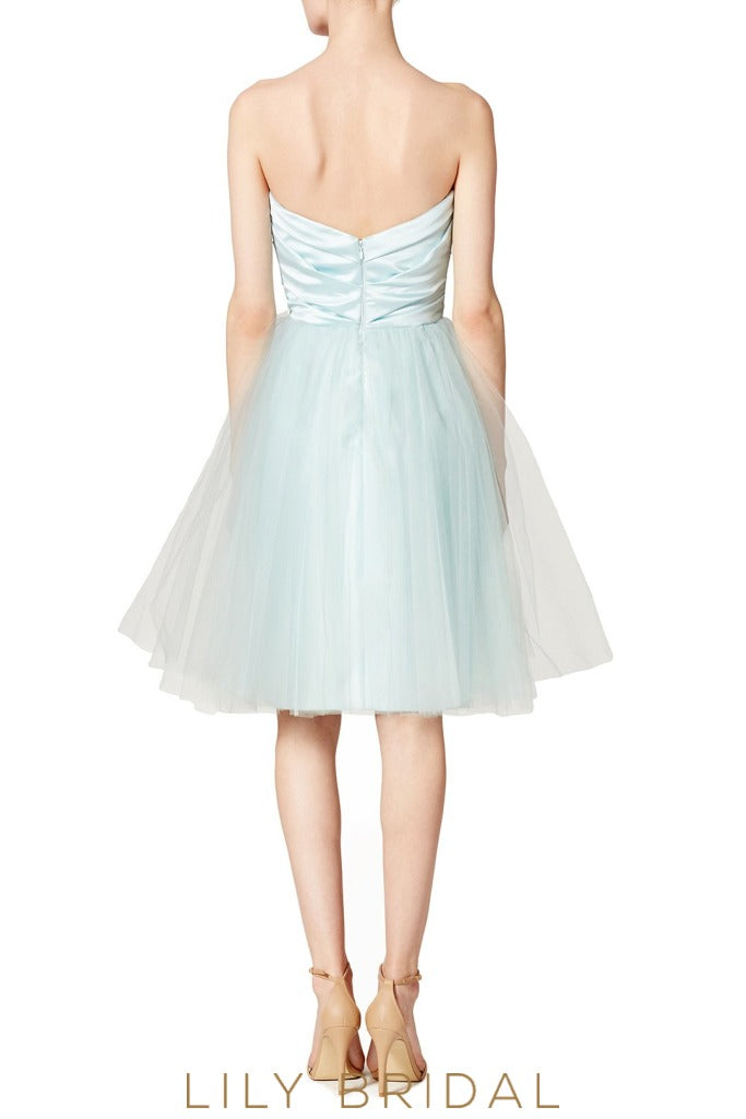 Short Sky Blue Sweetheart Strapless Ruched A-Line Bridesmaid Dress