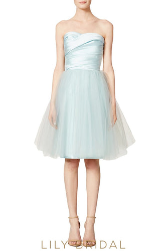 Short Tulle Sky Blue Sweetheart Strapless Ruched A-Line Bridesmaid Dress