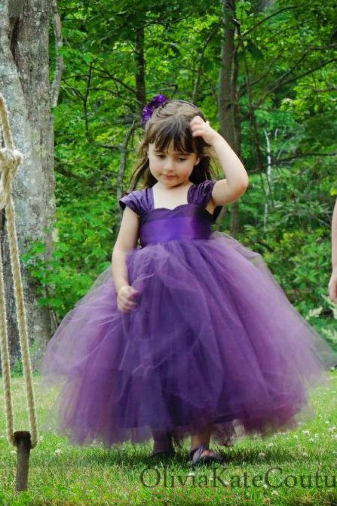 Regency Sweetheart Cap Sleeve Ankle Length Ball-Gown Tulle Flower Girl Dress