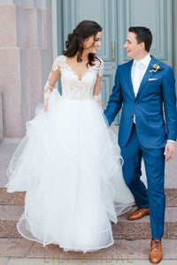 Tulle Rustic Ball Gown Wedding Dress Long Sleeve V Neckline and Illusion Lace