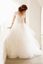 Tulle Rustic Ball Gown Long Sleeve V Neckline and Illusion Lace