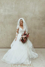 Tulle Rustic Wedding Dress Long Sleeve V Neckline and Illusion Lace