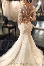 Tulle Scoop Trumpet Silhouette Wedding Dress Long Sleeves Dropped Waist