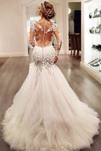 Tulle Scoop Trumpet Silhouette Wedding Dress with Long Sleeves Dropped Waist