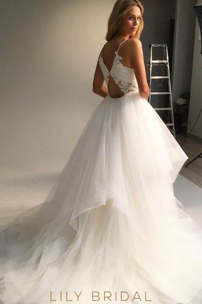 Ivory Tulle Sleeveless Ball Gown with Envelope Back