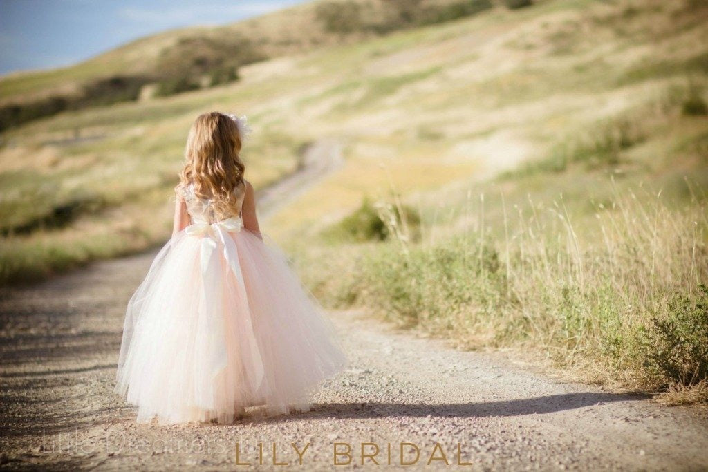 Blush Pink Floor-Length Ball-Gown Tulle Flower Girl Dress With Sash
