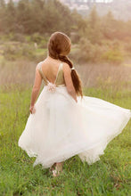 Ivory Square Neck V-Back Tulle Flower Girl Dress With Sequin Bodice