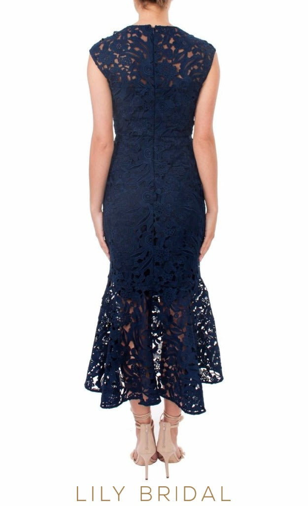 Navy Blue Lace Sleeveless High-Low Mother of the Bride Dress