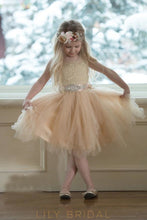 Tulle Sleeveless Jewel Knee-Length Illusion Ball-Gown Flower Girl Dress With Lace