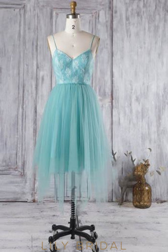 Tulle Spaghetti Strap Short Bridesmaid Dress With Lace