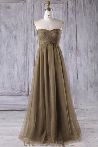 Tulle Strapless Sweetheart Floor-Length Bridesmaid Dress With Ruched Bodice