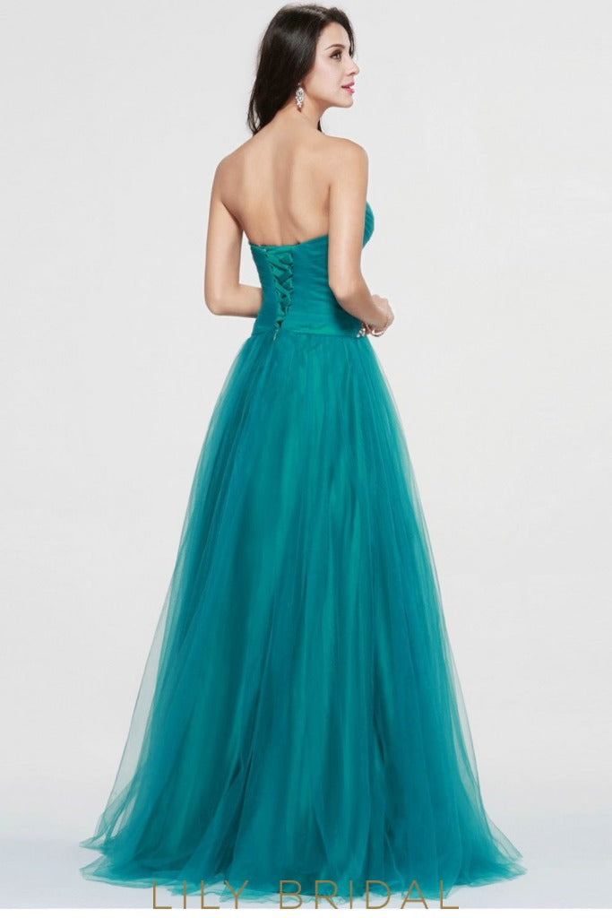 Tulle A-Line Strapless Sweetheart Floor-Length Beaded Backless Prom Dress