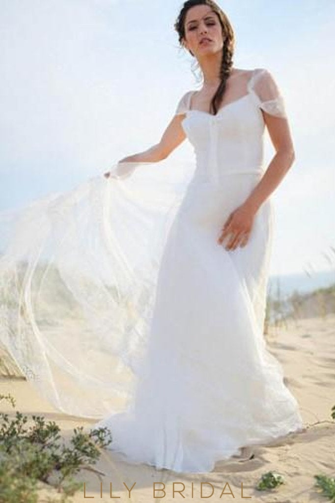 Tulle Sweetheart Neckline Cap Sleeve Bridal Dress With Lace Lilybridal