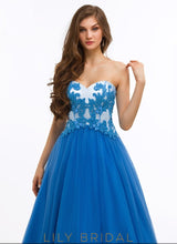 Satin Sweetheart Strapless Open Back Ball Gown Prom Dress
