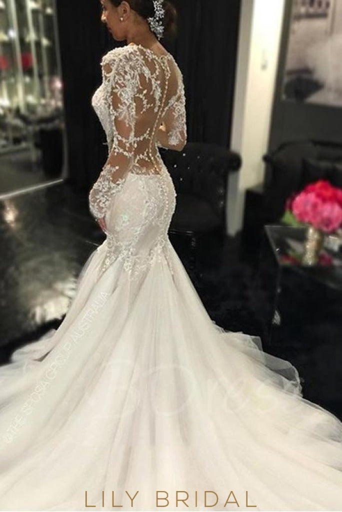 Tulle Scoop Trumpet Wedding Dress with Long Sleeves Dropped Waist