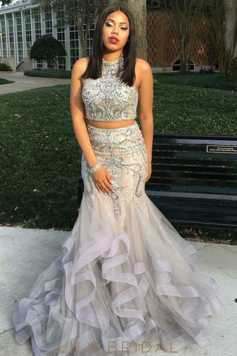 Organza Two-Piece Sleeveless High Neckline Mermaid Beaded Prom Dress