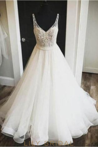 Tulle V-Neck Floor-Length Bridal Dress With Beaded Bodice