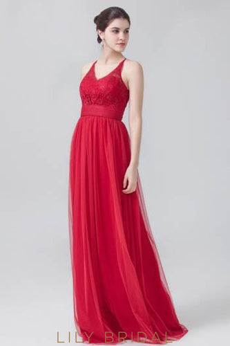 Tulle V-Neck Sweep Train Bridesmaid Dress With Lace Bodice