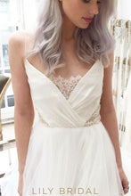 Tulle A-line V-Neck Wedding Dress with Strap Lace Illusion with V-Back