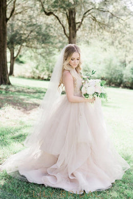 Tulle V-neckline Criss-Cross Back Wedding Ball Gown