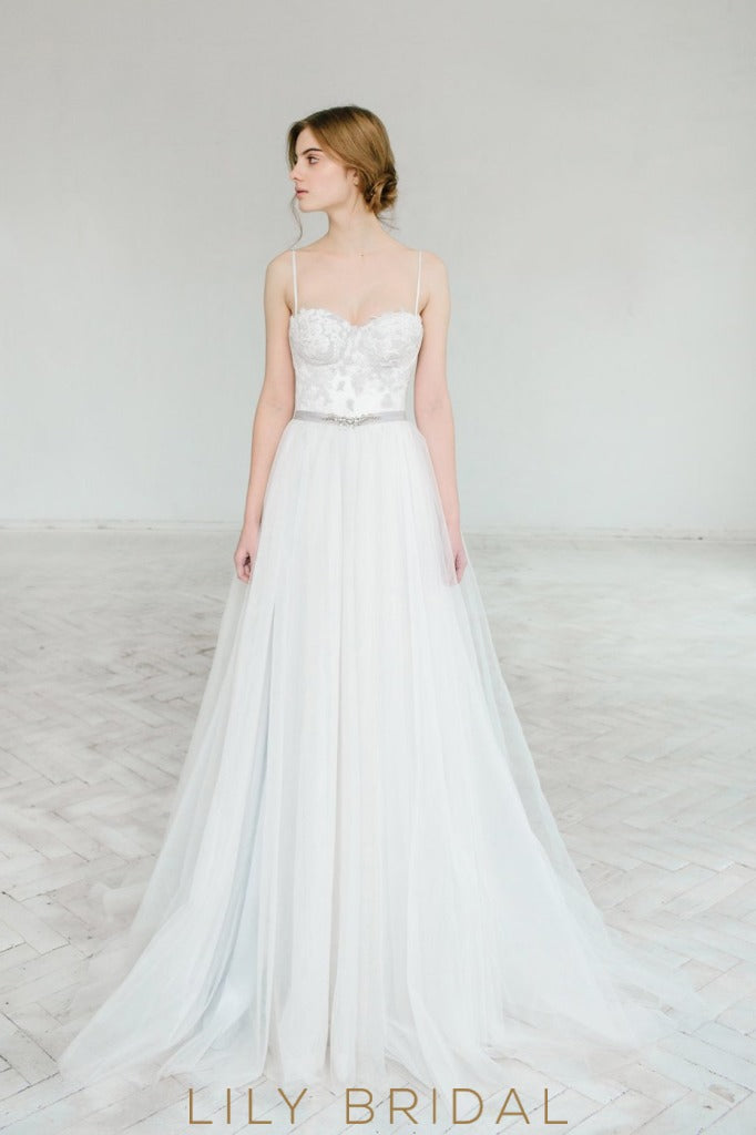 Tulle A-line with Sweetheart Wedding Dress Open Back