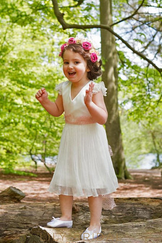 V-Neck Cap Sleeve Keyhole Back A-Line Tea-Length Organza Flower Girl Dress With Lace Sash