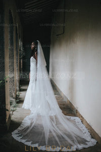 Two-Layer Cathedral Bridal Veil With Lace Applique along the Edge
