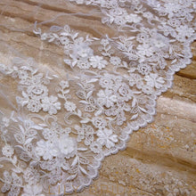 weeding veil with pearl beaded floral motif