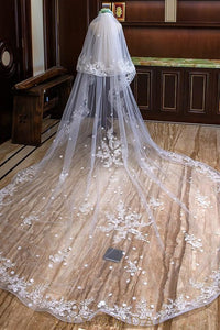 curly edge weeding veil