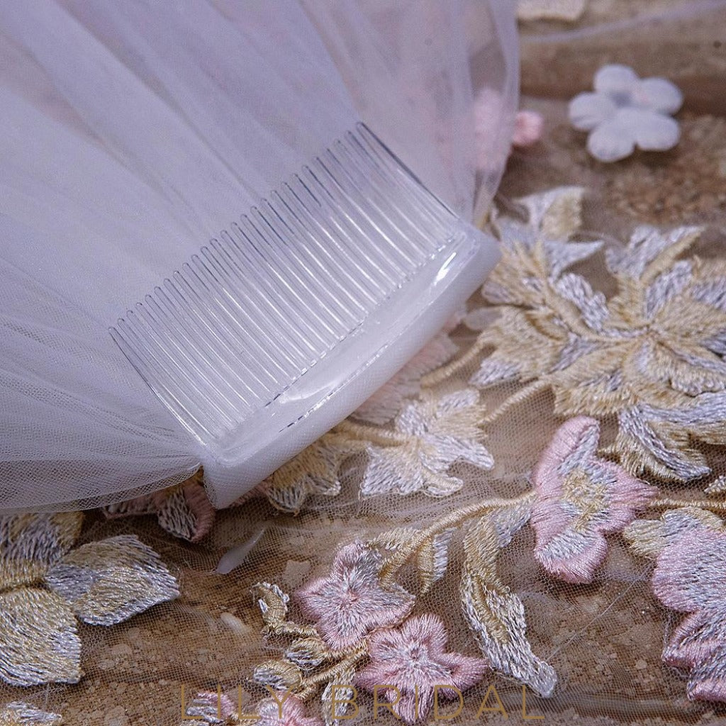embroidery bridal veil