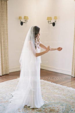 Two Layer Cut Edge Chapel Length Bridal Veil in Silk Effect Tulle