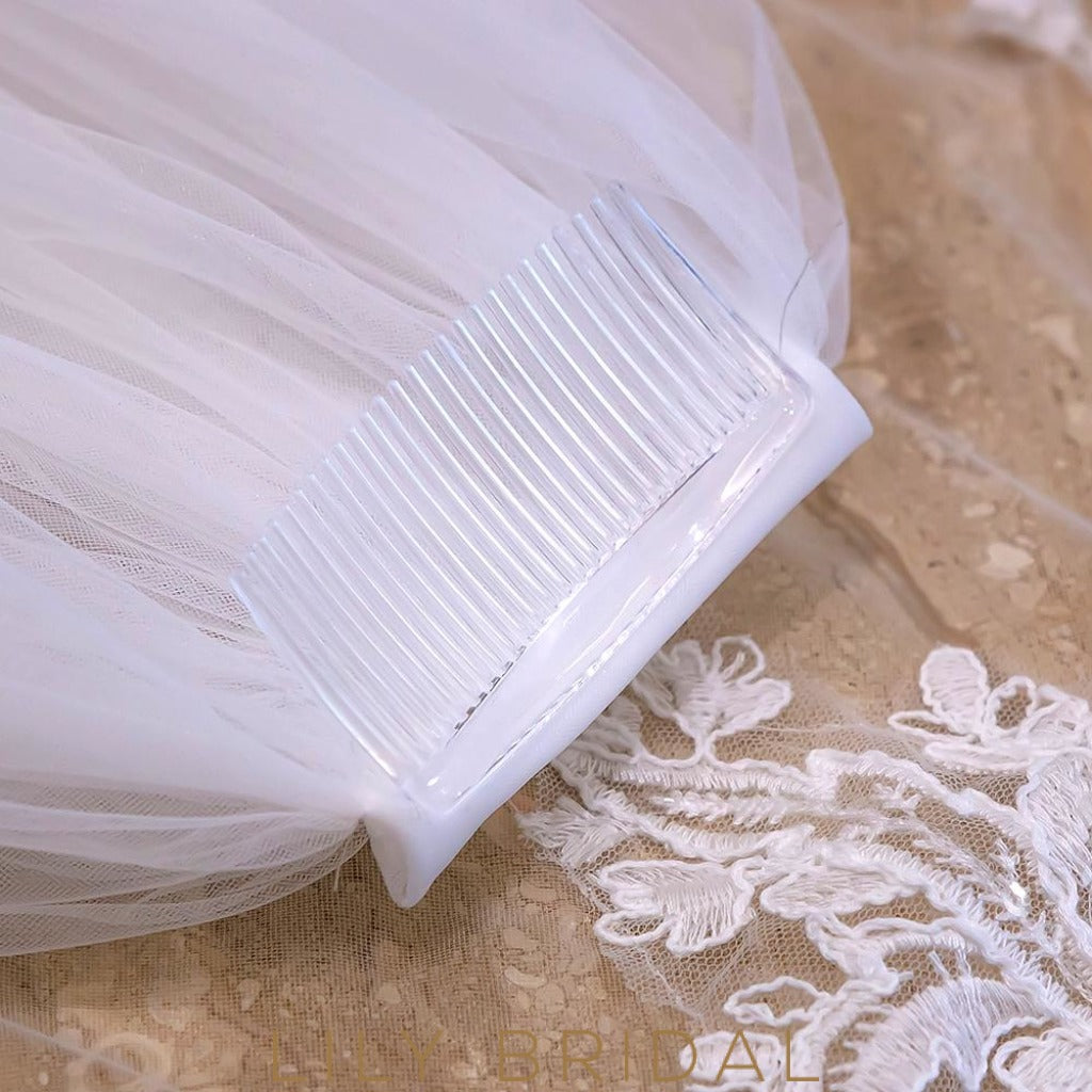 Cathedral Veil with Applique@Diamante Scattered
