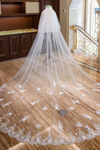 Two Layer Floral Edge Cathedral Veil with Applique@Diamante Scattered