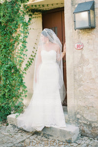 Two Layer Hand Cut Edge Floor-Length Wedding Veil in Silk Effect Tulle