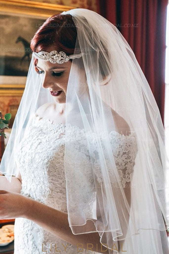 Two Layer Mid-Length Wedding Veil With Pencil Edge