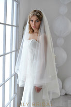 natural tulle bridal veil