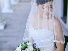 Two Layer Scalloped Lace Edge Elbow Weeding Veil