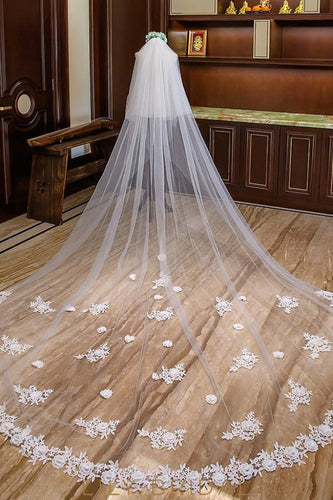 Two Layer Stereoscopic Floral Edge Cathedral Length Weeding Veil