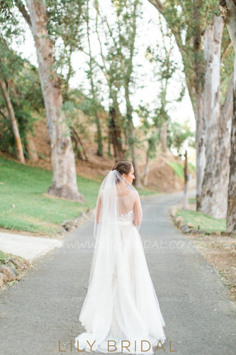 Two Layer Tea-Length Bridal Veil With Beaded Edge