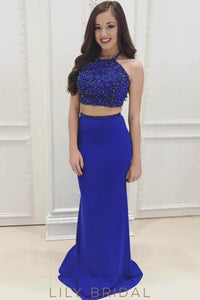 Two-Piece Halter Bodycon Long Jersey Prom Dress With Beaded Bodice