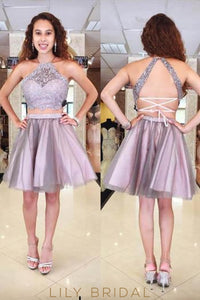 Two-Piece Halter Tulle Cocktail Dress With Beaded Lace Top