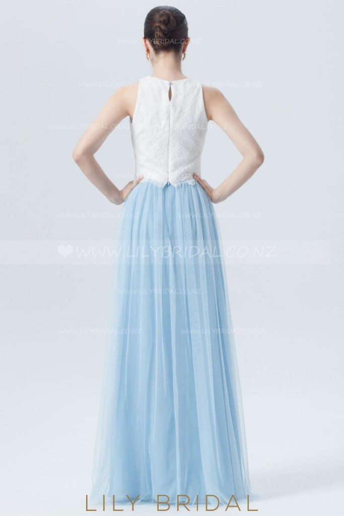 Two-Piece Jewel Neck Floor-Length Tulle Bridesmaid Dress With Lace Bodice