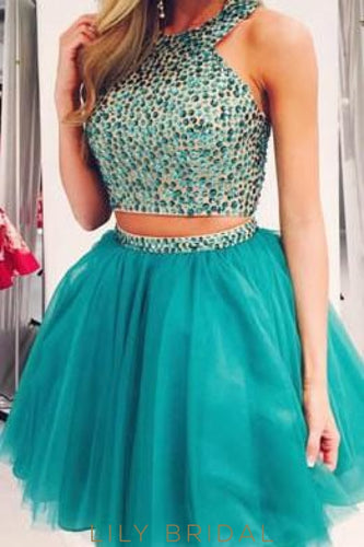 Two-Piece Jewel Sleeveless Beaded Tulle Cocktail Dress