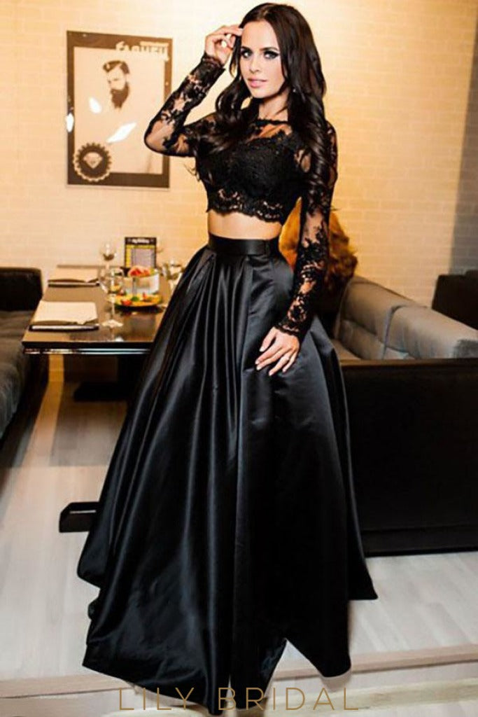 Two-Piece Long Sleeves Illusion Neck A-Line Prom Dress