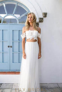 Boho Two-Piece Off-The-Shoulder Ivory Tulle Wedding Dress With Lace Top