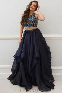 Two-Piece Satin Chiffon Long Prom Dress With Beads