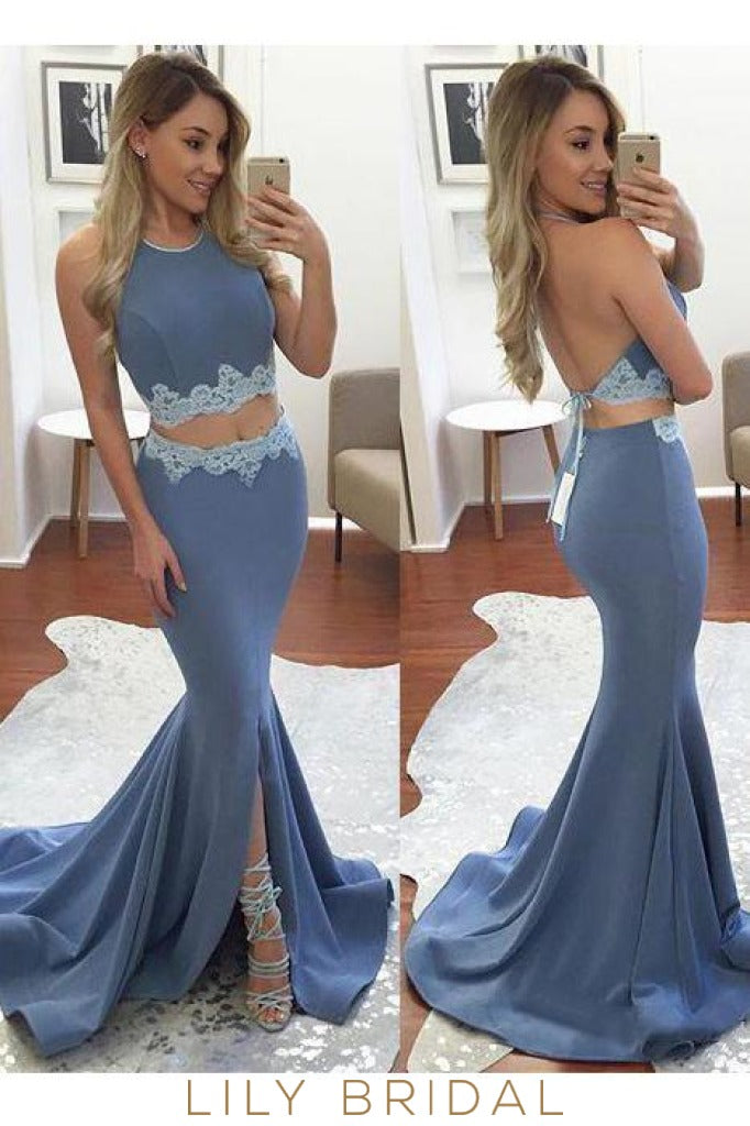 Two-piece Sleeveless Mermaid Spandex Long Prom Dress